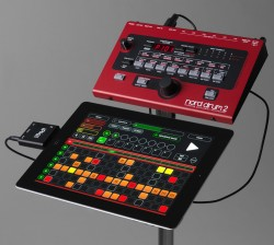 Setup example with the Nord Drum 2, Nord Beat 2 and an iRig MIDI interface.